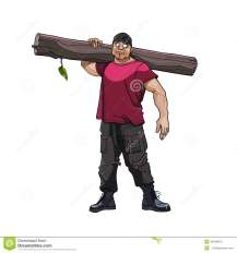 cartoon-strong-man-timber-his-shoulder-45948612